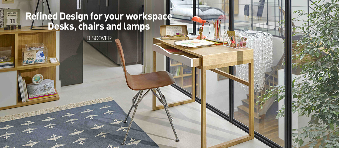 Workspace with desks, chairs and lamps