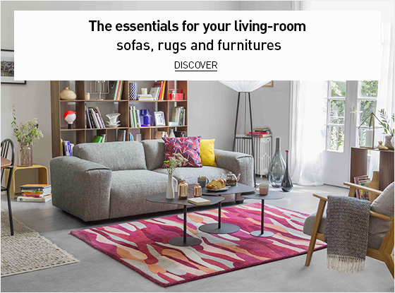 The essentials for your living-room with sofas, rugs and furnitures