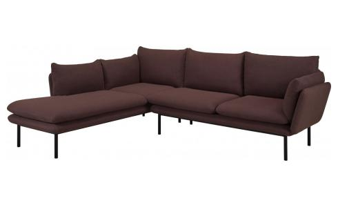 2-Sitzer Sofa aus Stoff mit Chaiselongue links - bordeauxrot