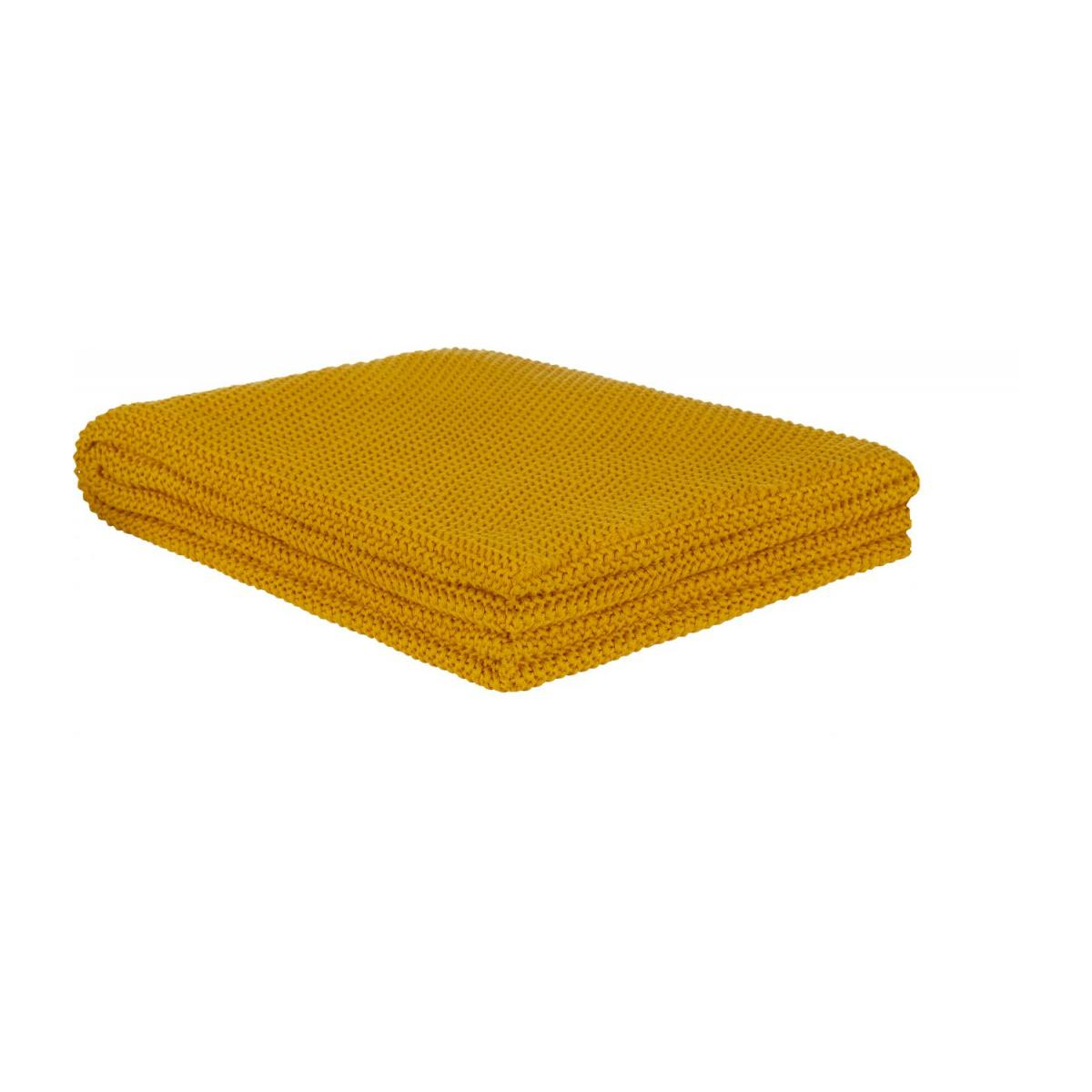 Cotton Knitted Throw 130x170cm Mustard n°1