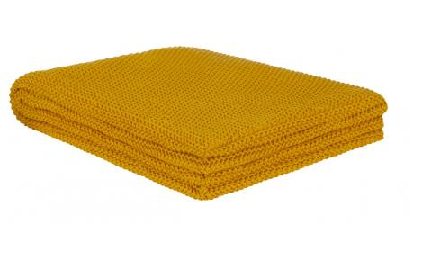 Cotton Knitted Throw 130x170cm Mustard