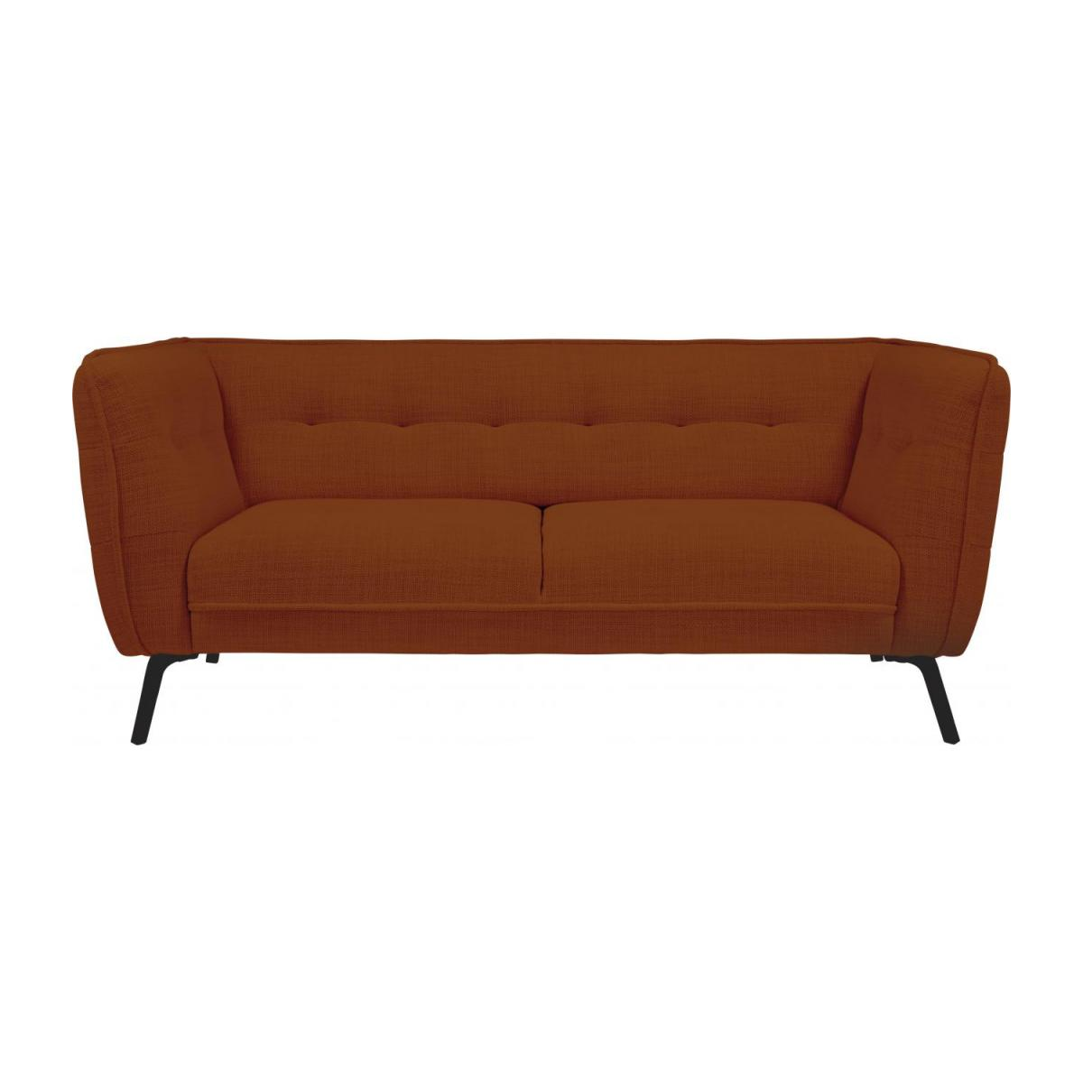 2 seater sofa in Fasoli fabric, warm red rock and dark legs n°1