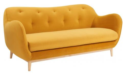 3-seat sofa made of velvet, mustard