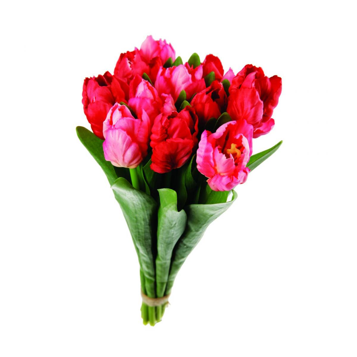 Bouquet de 12 tulipes artificiel - 30 cm - rose