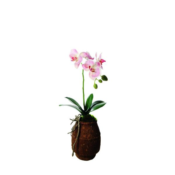 Orchidée artificiel en pot - 38 cm - rose