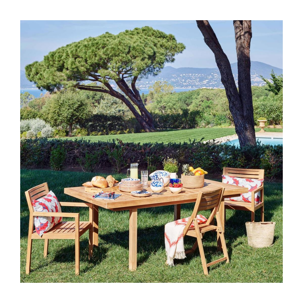 Teak extendible garden table n°11