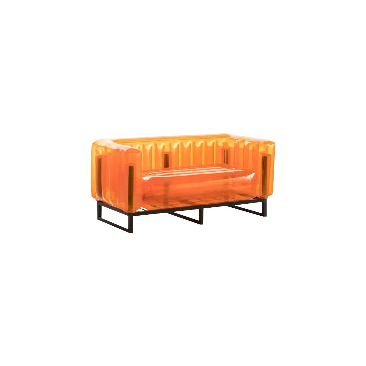Canapé gonflable 2 places en PVC - Orange n°1