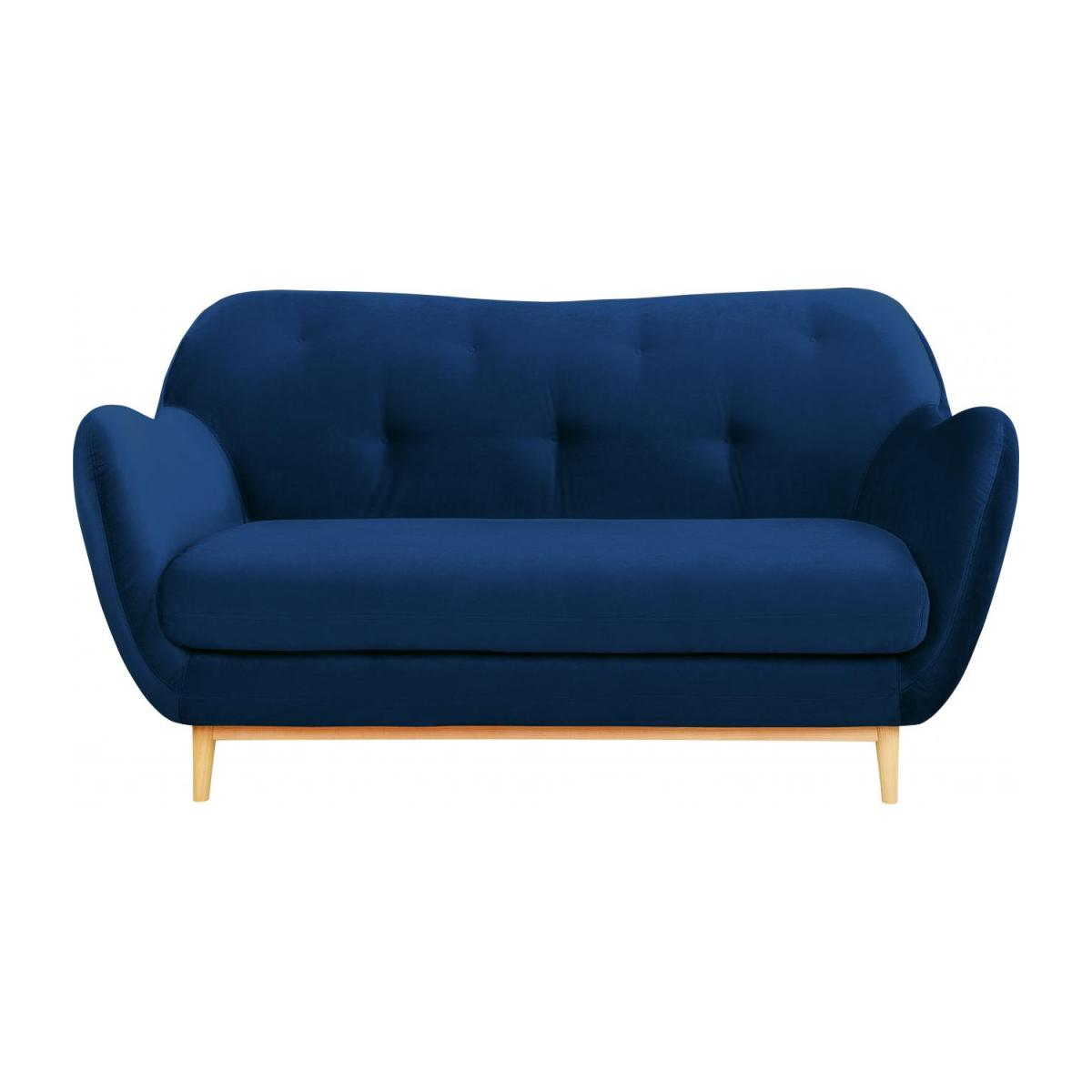 2-seat sofa made of velvet, blue n°2