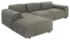 3-Sitzer Sofa mit Chaiselongue links aus Stoff Bellagio night black