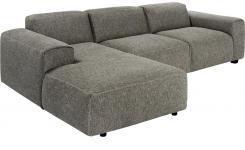 Fabric 3-seater sofa with chaise longue on the left