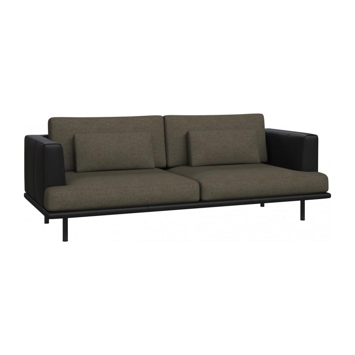 3 seater sofa in Lecce fabric, slade grey with base and armrests in black leather n°1