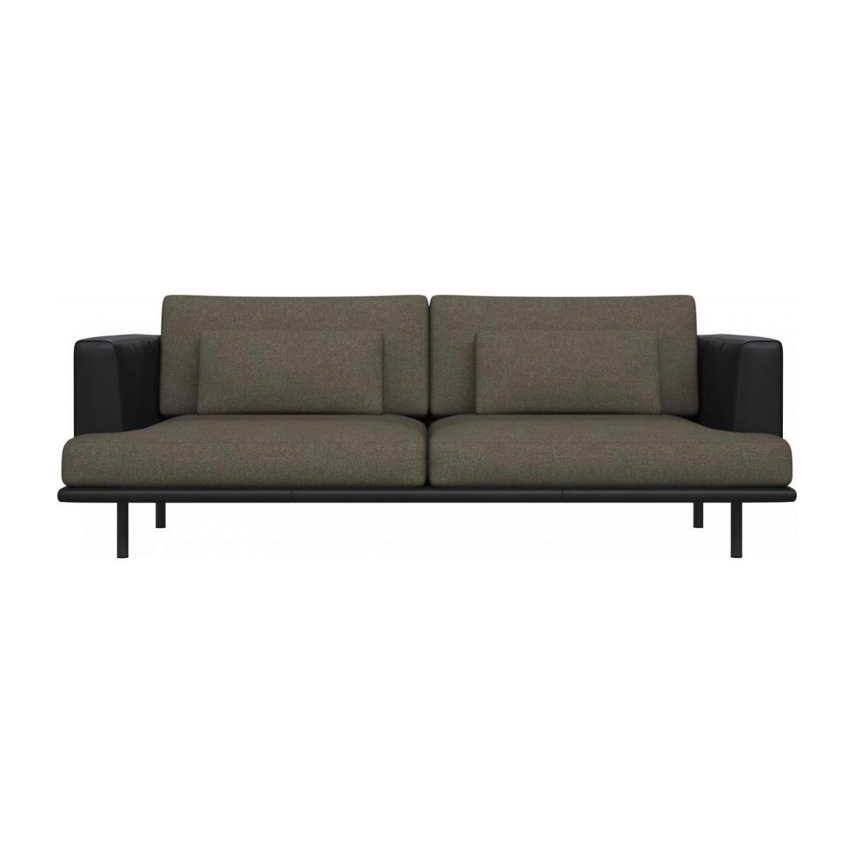 3 seater sofa in Lecce fabric, slade grey with base and armrests in black leather n°2