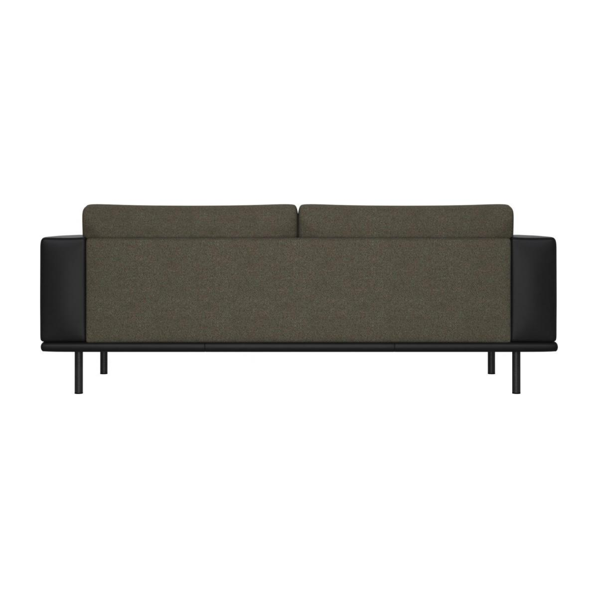 3 seater sofa in Lecce fabric, slade grey with base and armrests in black leather n°3