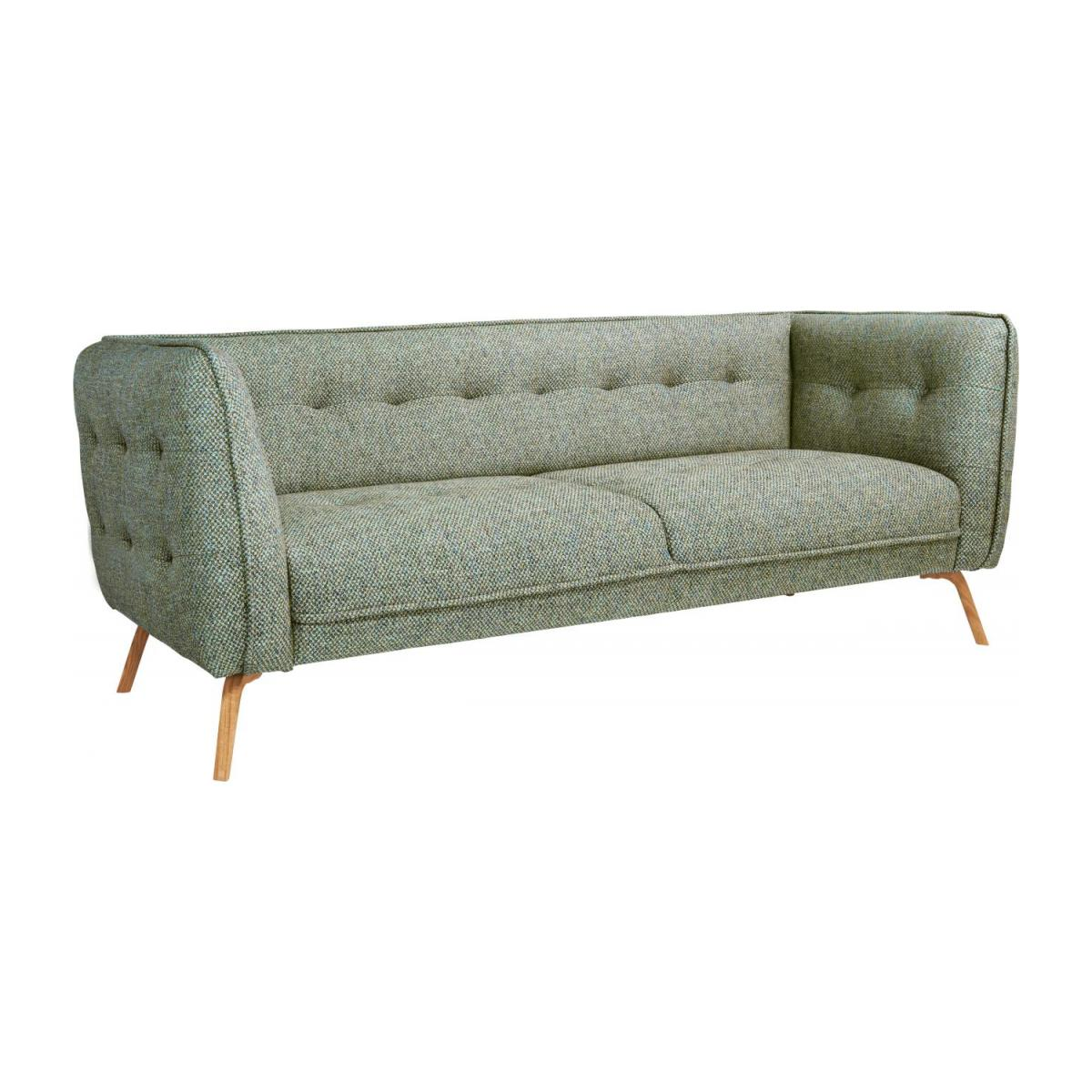 3 seater sofa in Bellagio fabric, organic green and oak legs n°1
