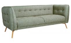 3 seater sofa in Bellagio fabric, organic green and oak legs