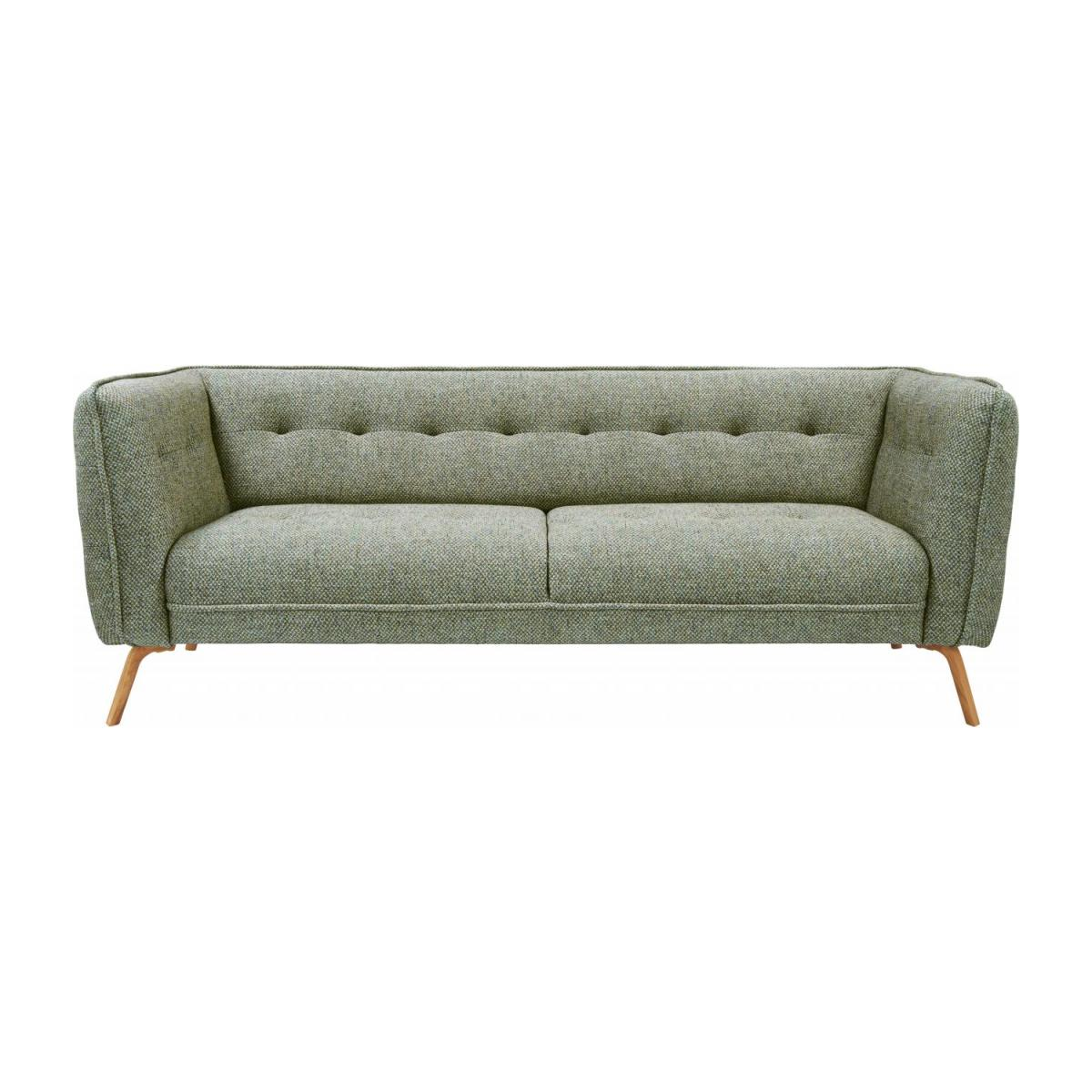 3 seater sofa in Bellagio fabric, organic green and oak legs n°2