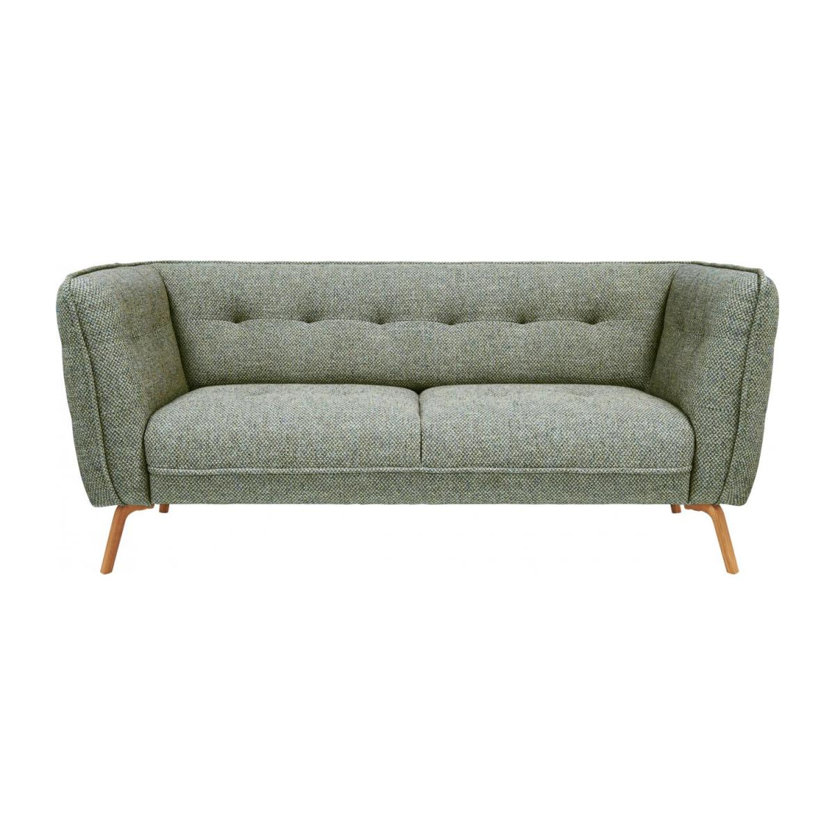 2 seater sofa in Bellagio fabric, organic green and oak legs n°2