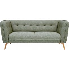 2 seater sofa in Bellagio fabric, organic green and oak legs