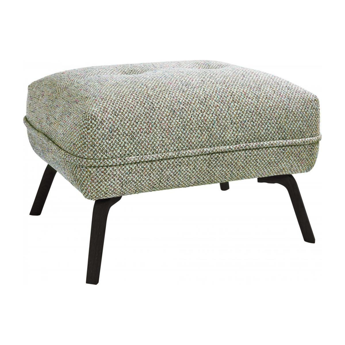 Footstool in Bellagio fabric, organic green and dark legs n°1