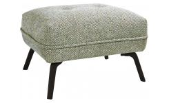 Footstool in Bellagio fabric, organic green and dark legs