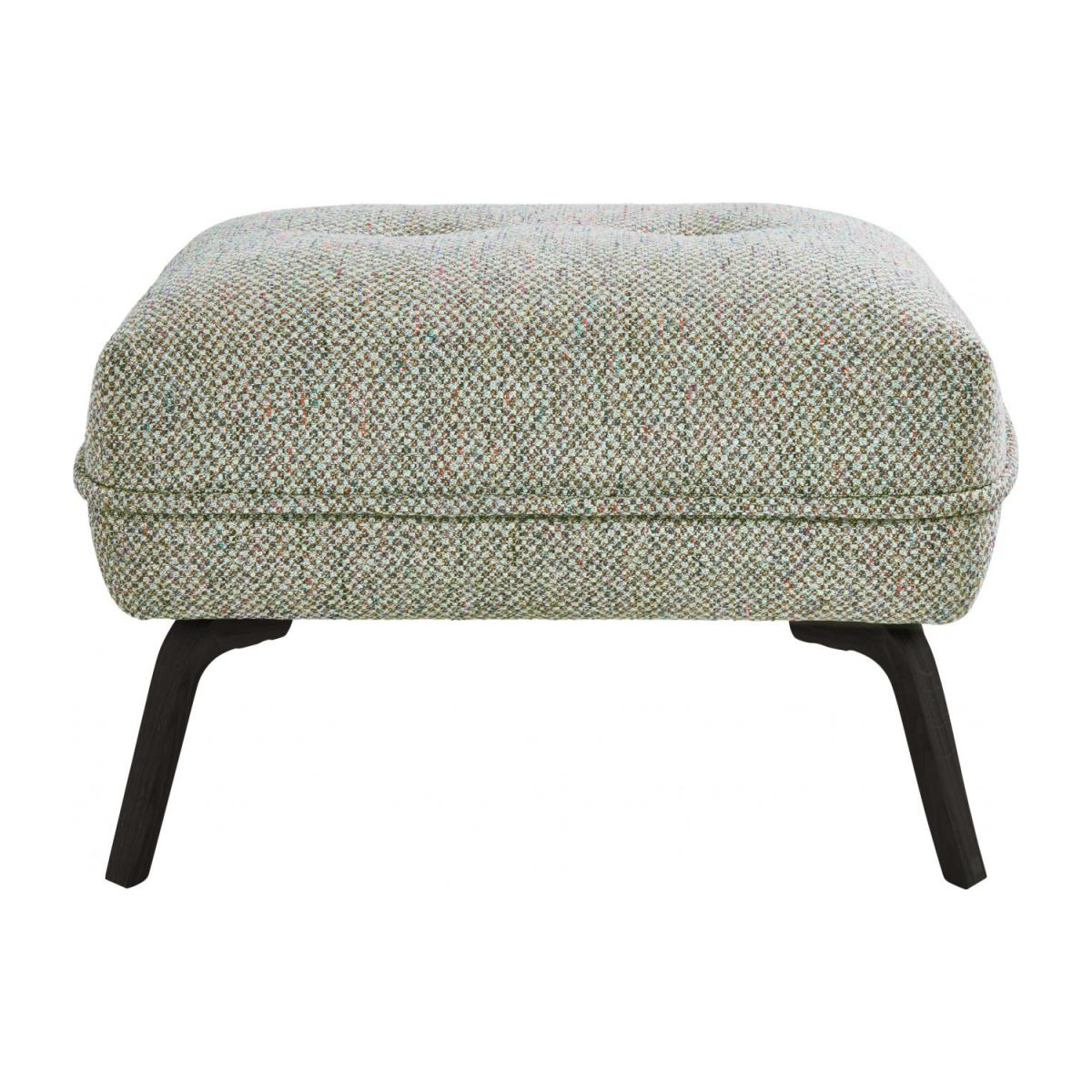 Footstool in Bellagio fabric, organic green and dark legs n°2