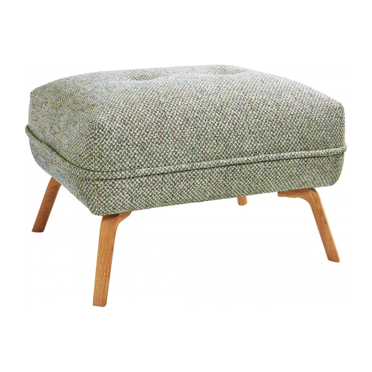 Footstool in Bellagio fabric, organic green and oak legs n°1