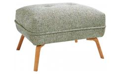 Footstool in Bellagio fabric, organic green and oak legs