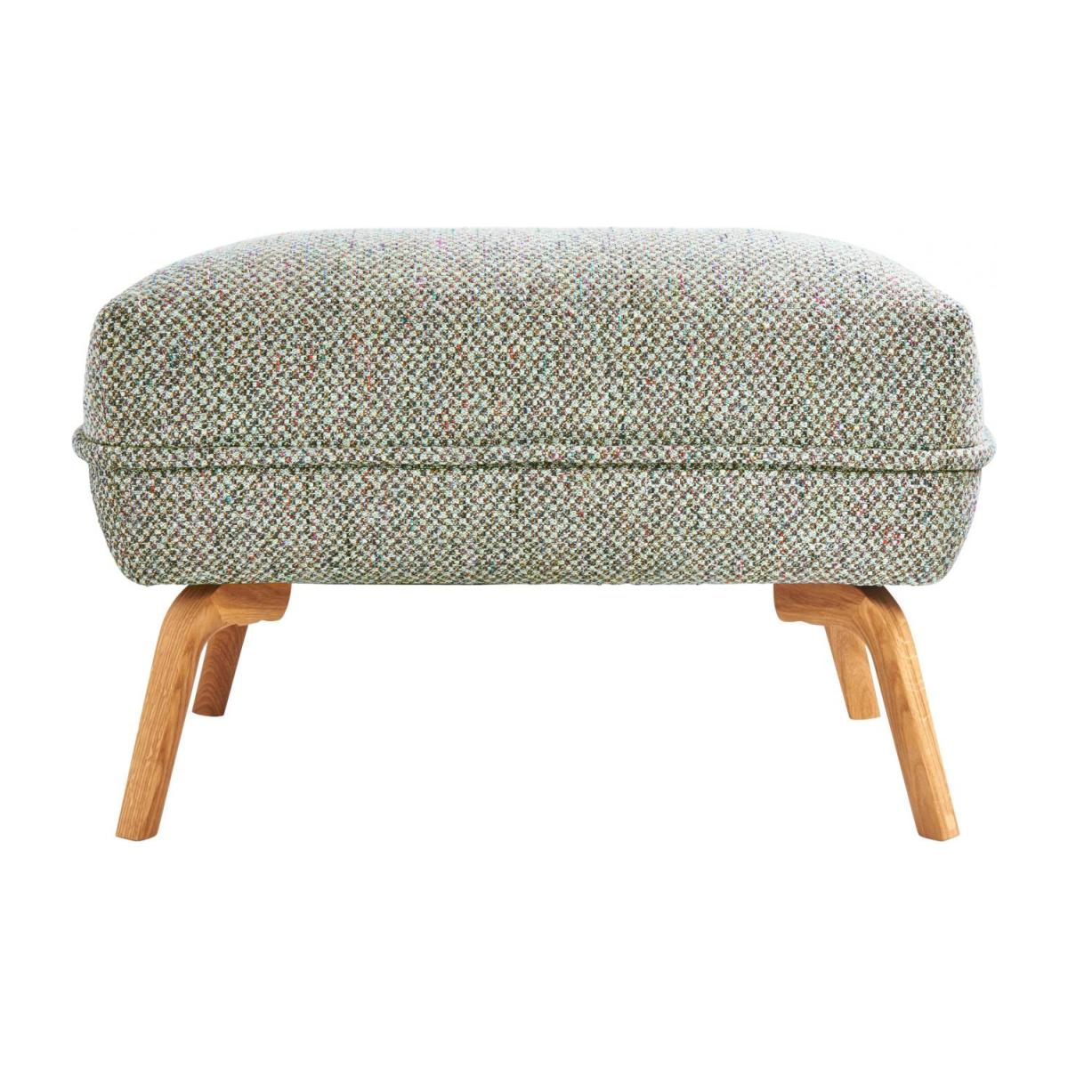 Footstool in Bellagio fabric, organic green and oak legs n°3