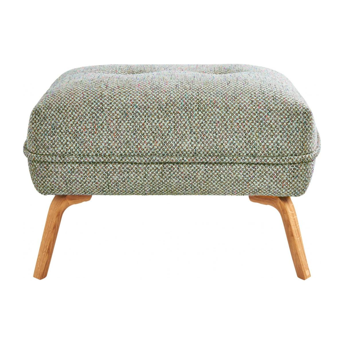 Footstool in Bellagio fabric, organic green and oak legs n°2