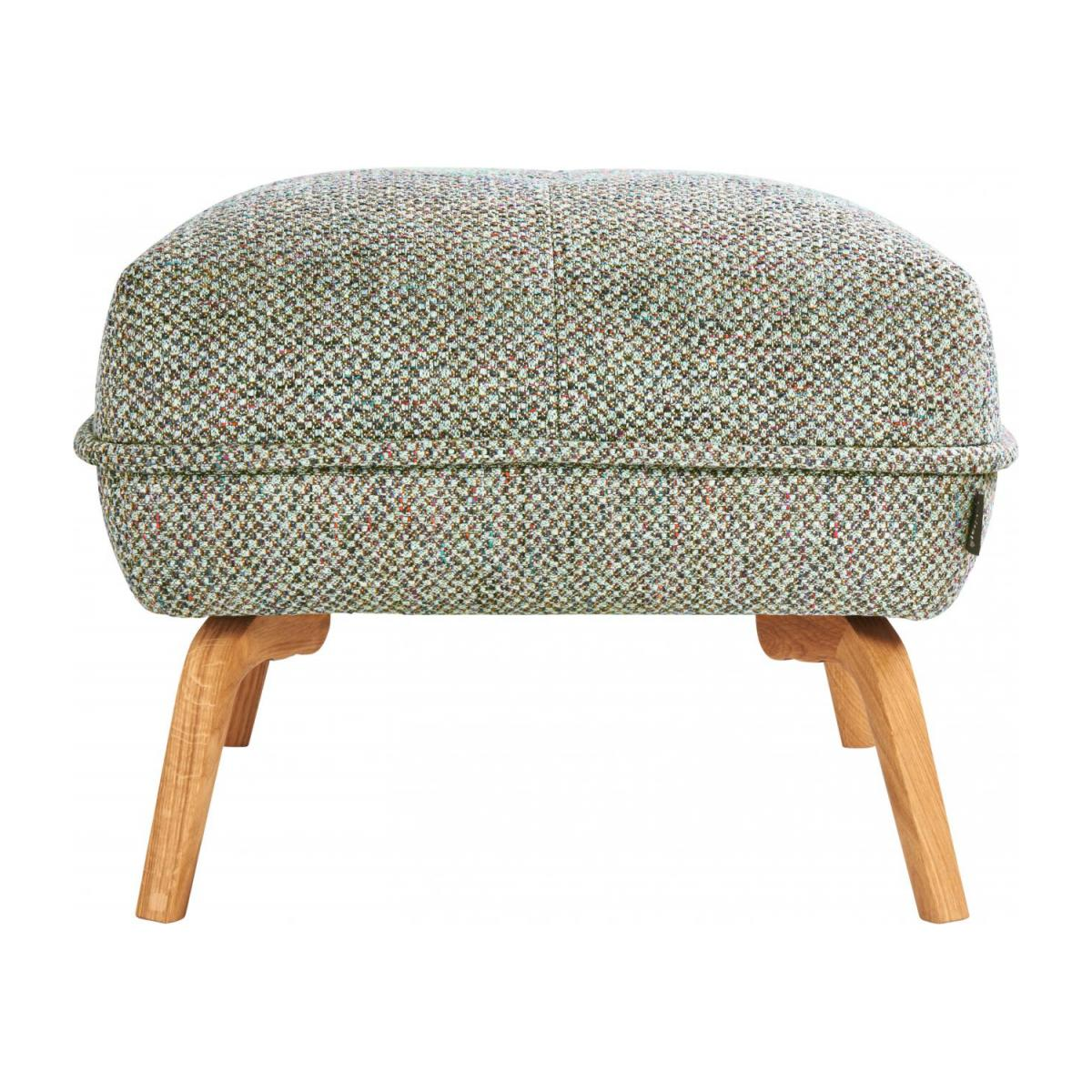 Footstool in Bellagio fabric, organic green and oak legs n°4