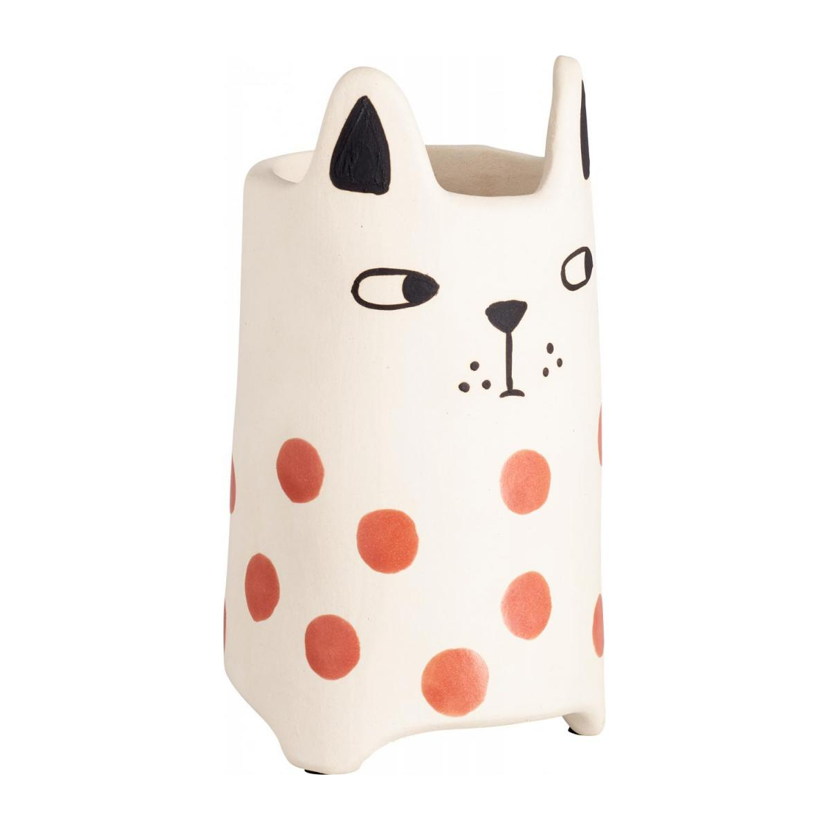 Cache-pot chat en faïence - 18 cm - Rouge n°1