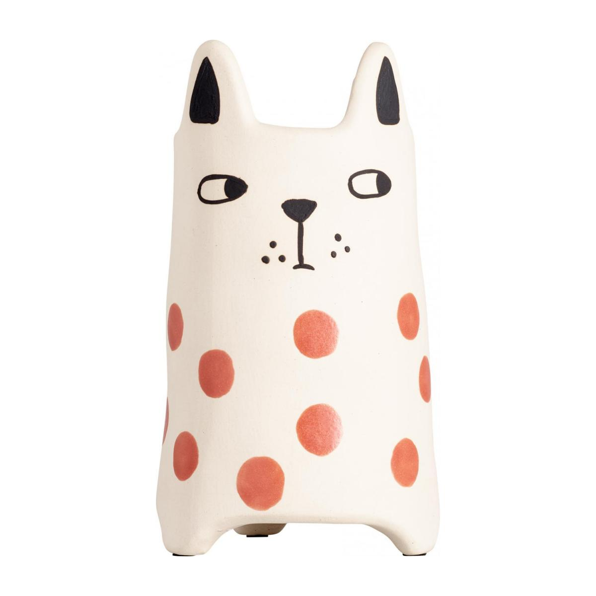Cache-pot chat en faïence - 18 cm - Rouge n°3