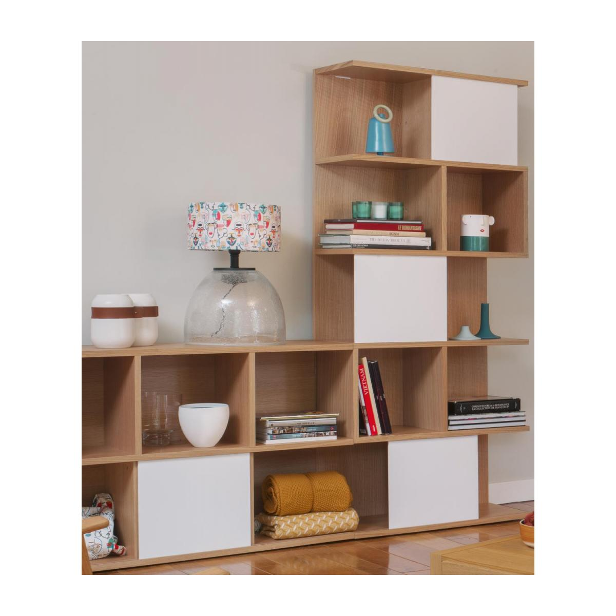 Low bookcase, oak and white n°10