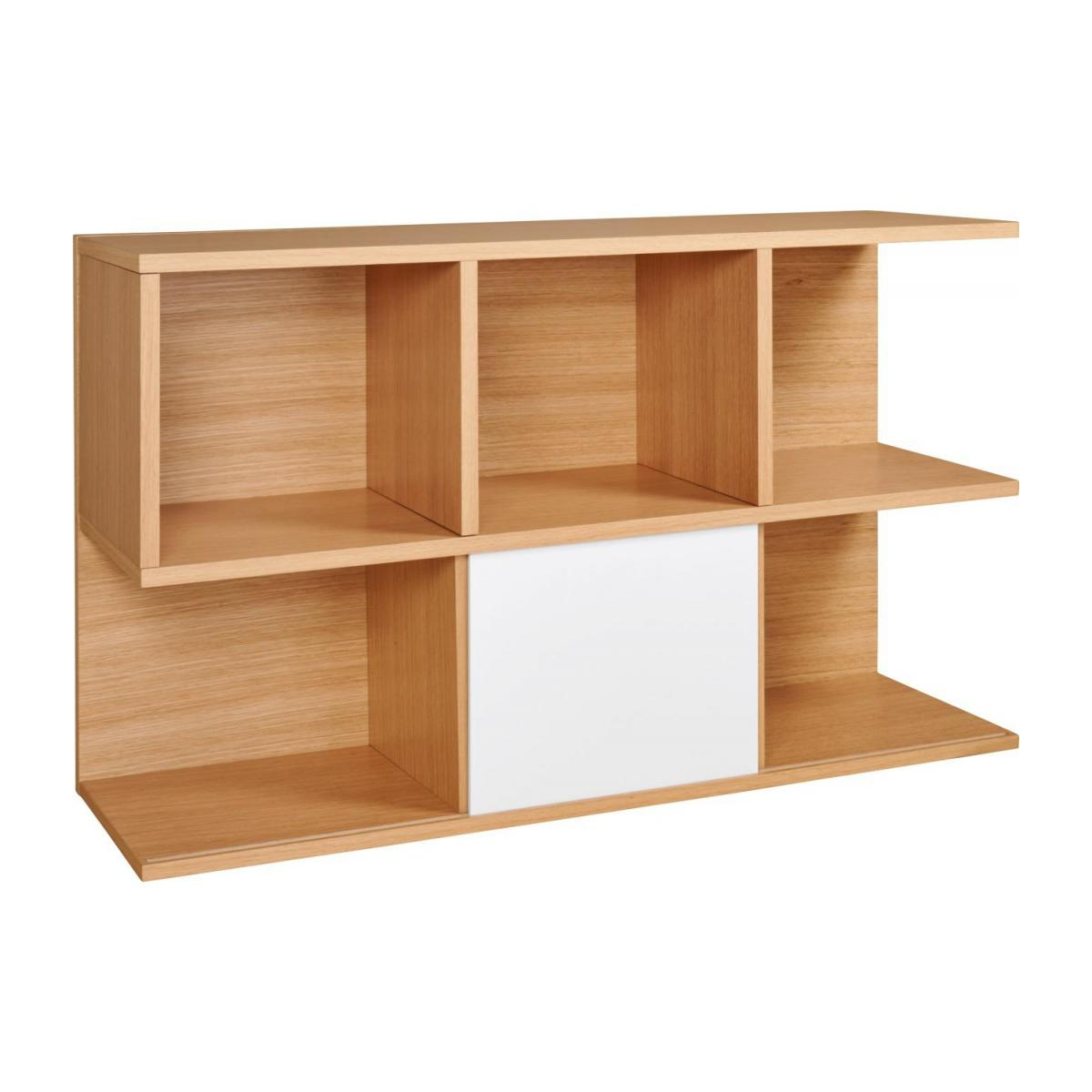 Low bookcase, oak and white n°3