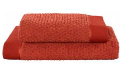 Lot de 2 serviettes de bain - 50 x 100 cm + 70 x 140 cm - Rouge Brique