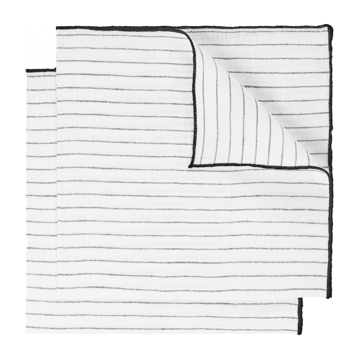 Lot de 2 serviettes de table en lin - 45 x 45 cm - Rayures noires n°1