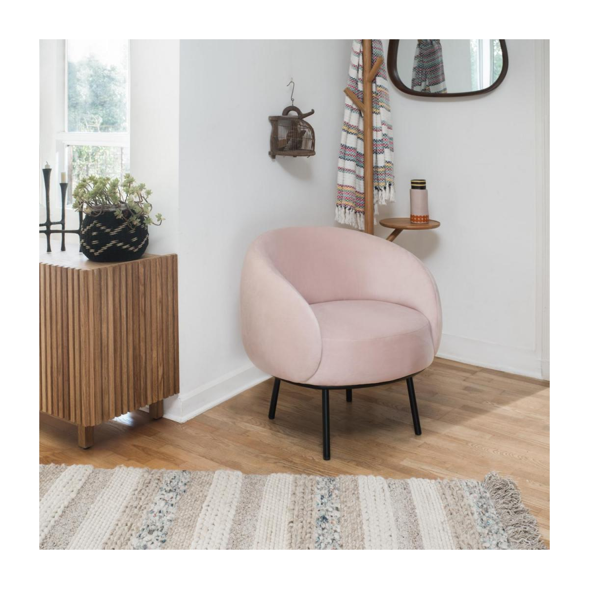 Fauteuil en velours - Rose - Design by Adrien Carvès n°2