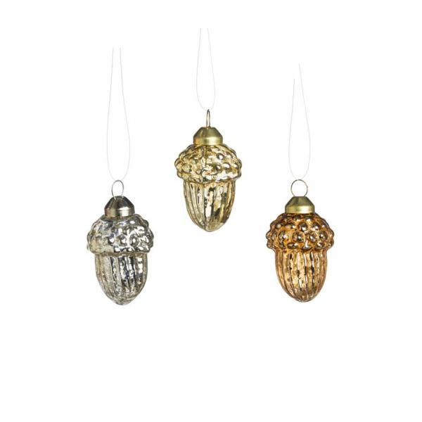 Set de 3 ornements glands 7.5cm en verre argent, bronze, or