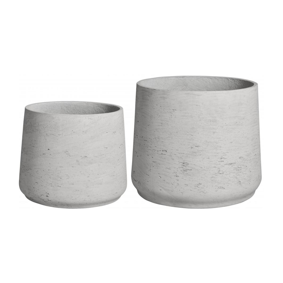 Lot de 2 cache-pots en ciment - Gris clair n°1