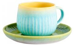 Taza y Plato de Porcelana - Multicolor - 260 ml