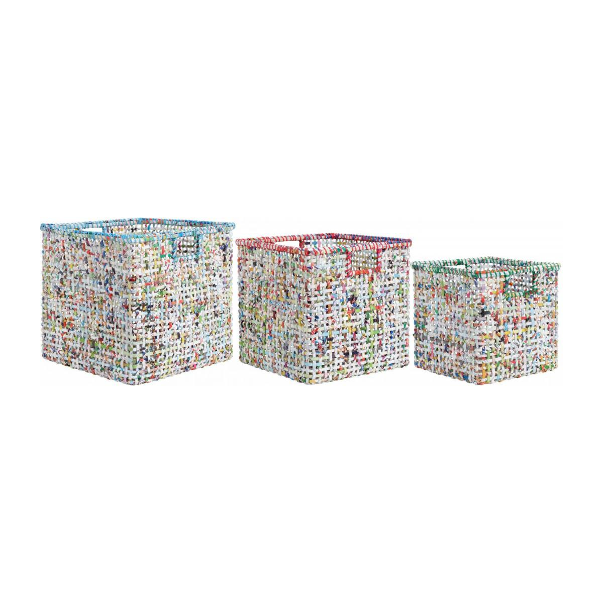 Lot de 3 paniers en papier recyclé - Multicolore n°1