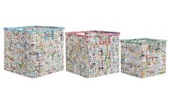 Lot de 3 paniers en papier recyclé - Multicolore