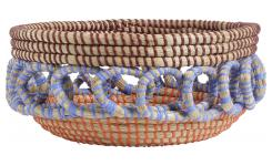 Cesta decorativa de junco de mar multicolor - 29 x 13 cm
