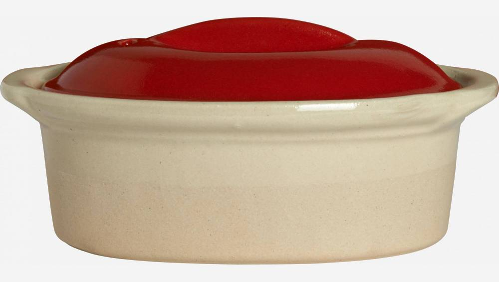 Terrine plate made in sandstone, natural and red