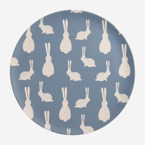 Flat plate, blue with bunny pattern