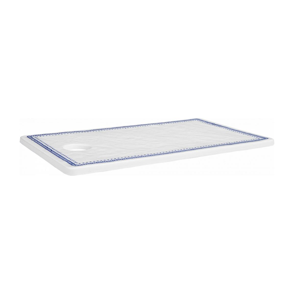 Chopping board made of porcelain 17x29cm, white and blue n°1