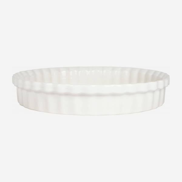 Pie dish made of faience 28cm, white