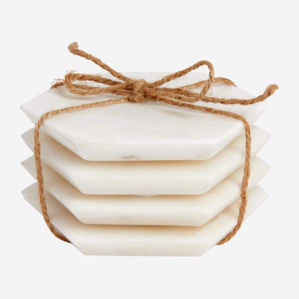 Set of 4 coasters made of marble