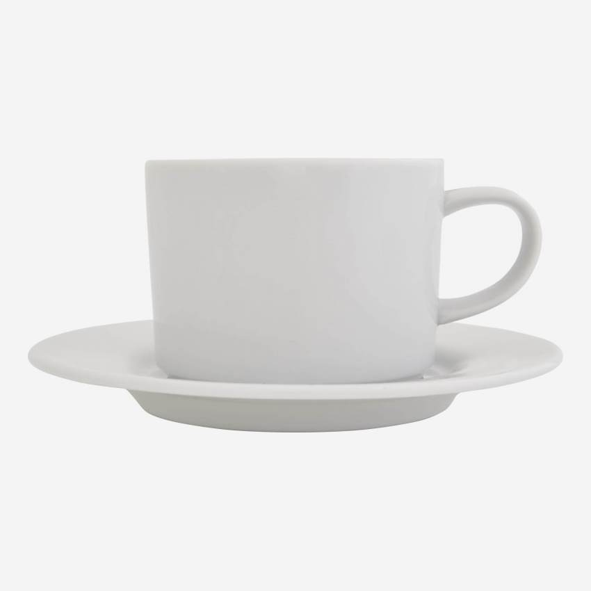 Porcelain teacup and saucer - White