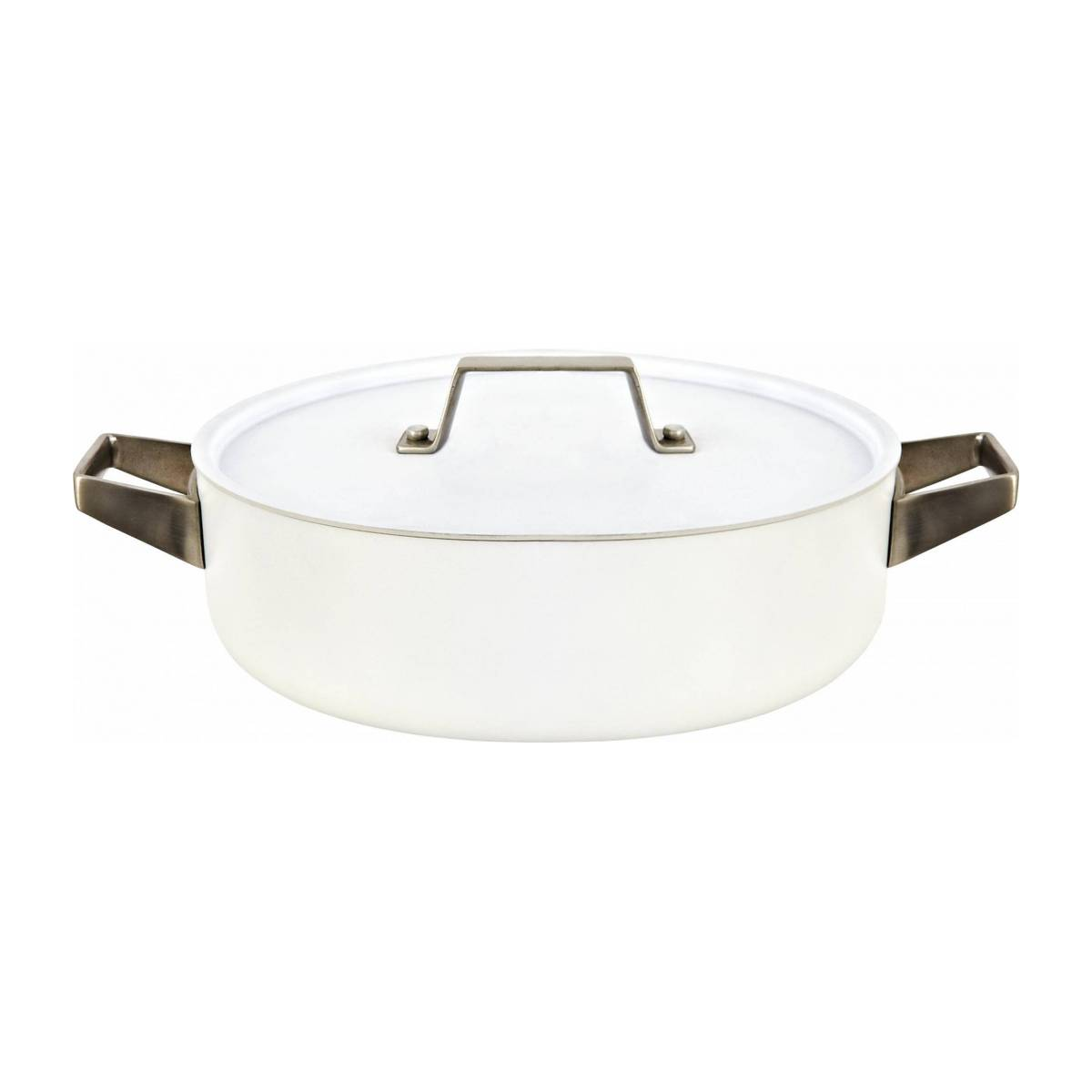 White aluminium saucepan and lid 26 cm with inner coating in ceramic n°1